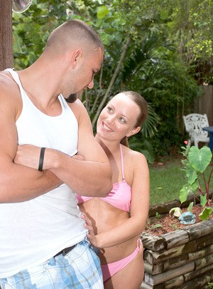 Horny teen Jordan Nevaeh seduces her stepbrother on the back patio in a bikini