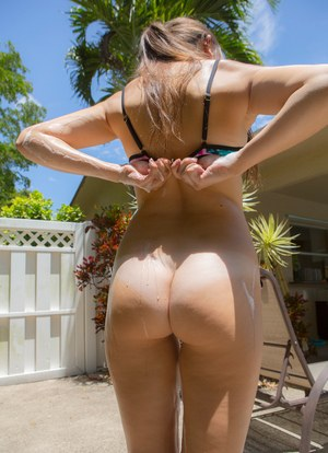 Little cutie Katie Rawls removing her bikini to soap up while washing the car