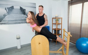 Hot dancer Amira Adara removes yoga pants to fuck her instructor doggystyle