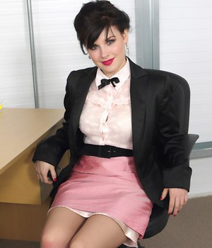 Hot secretary Jocelyn-Kay strips down to tan stockings for pinup calendar