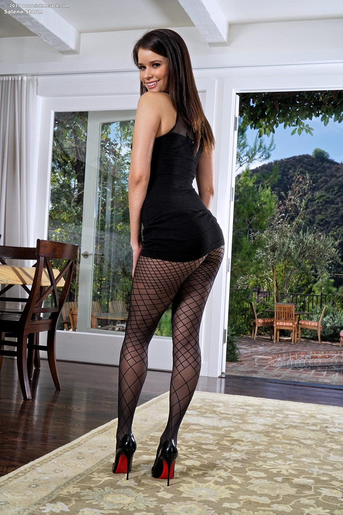 Stunning brunette Salena Storm in fishnet pantyhose on her knees spreading ass