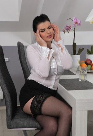 Tense waitress Sandra Nero gets relaxing big tit rub and give blowjob at work