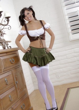 Cute teen girl Destiny Moody flashes her bald twat in pigtails and stockings