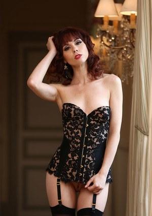 Top pornstar Ariel Rebel undoes her bustier wearing garters and nylons