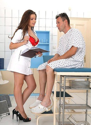 Hot brunette nurse Marina Visconti tit fucks a patient after seducing him