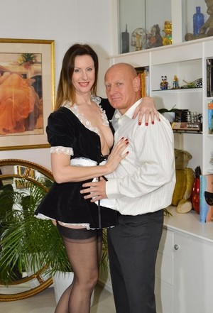 Tal slender mature maid gets bent over for fingering & fucking by old man boss