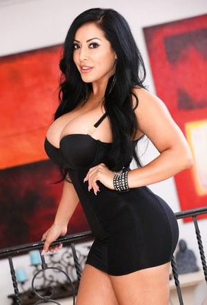 Beautiful Latina Kiara Mia in mini skirt shows big ass & gets cum on fake tits
