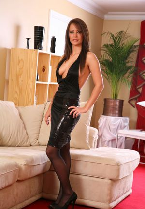 Solo model Anastasia shows some thigh in cocktail dress and nylons