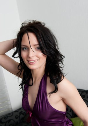 Dark haired Vana A in satin lingerie flashes naked upskirt and shows nude cunt