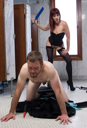Harsh dominatrix Maitresse Madeline Marlowe facesits her slave & gets ass lick