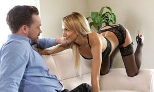 Slim blonde girlfriend Hime Marie seduces her guy in crotchless panties