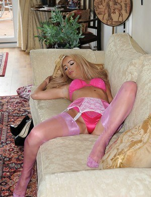 Hot blonde slides satin underwear aside before dildoing in mauve stockings