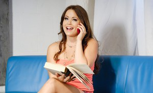 Smut reading brunette Kaci Starr calls a fuck pal to get her hairy pussy poked