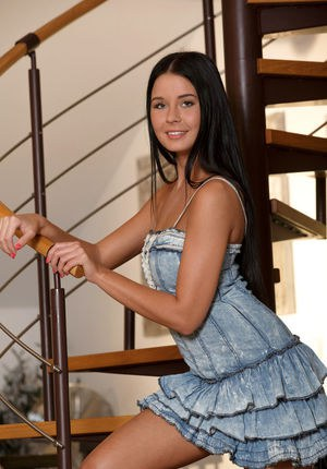 Brunette chick Mia Manarote takes of a pretty dress to show her beautiful body