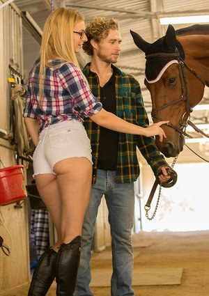 Gorgeous blonde teens ride hard cock cowgirl style in a hot FFM threesome