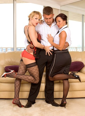 Hot ladies Sandra Romain & Katerina Kat play foot games in hose attired 3some
