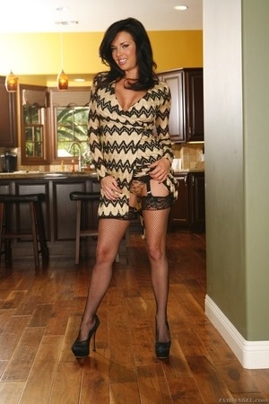 Leggy brunette Veronica Avluv gets banged in black stockings and pumps