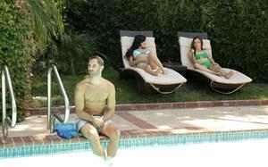 Horny girls Savannah Sixx & Lily Glee seduce a hunk while hanging at the pool