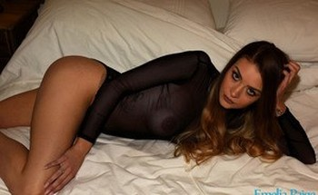 Glamour girl Emelia Paige peels her sheer lingerie to show off her big nipples