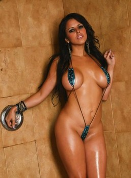 Sultry Latina chick Diamond Kitty gets wet while baring her big tits in shower