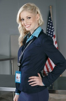 American flight attendant Charlotte Stokely strips naked in her office
