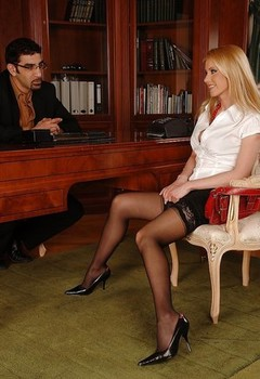 Horny MILF Alexa Weix gives a footjob and gets nailed in the office