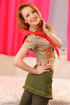 Petite British ginger Scarlot Rose stripping off uniform and green pantyhose
