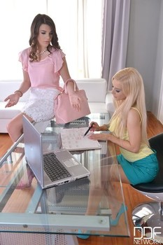Boss lady Nesty & teen Ariana Brown having wild lesbian sex at the office