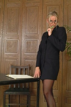 Kinky office blonde with perky tits Lucy Zara strips to white panties at work
