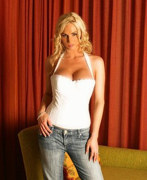 Blonde amateur Naughty Allie strips off blue jeans and white corset
