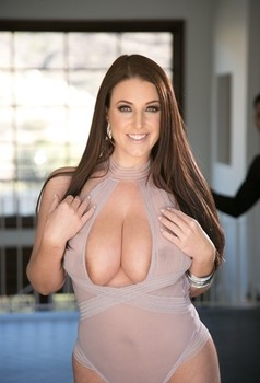 Australian solo model Angela White rocks her nice melons as she strips naked