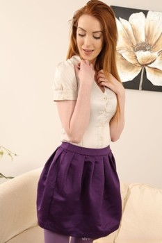 Tall ginger Alice Brookes reveals her big breasts & poses in purple stockings