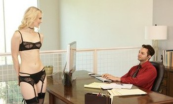 Small tit employee Lily Rader having passionate sex at work