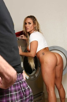 Sultry mom Tegan James shows her curves and gets banged in the laundry room