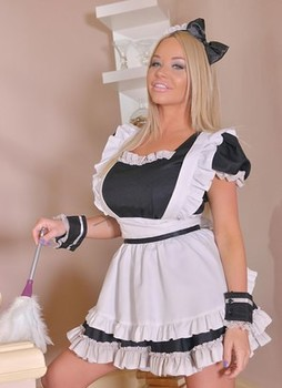 Blonde maid Rachele Richey licks the nut sac while deepthroating her employer