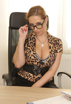 Beautiful MILF secretary Daria Glower exposes big boobs & spreads legs at desk