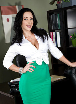 Office milf Jayden Jaymes demonstrates her amazing big natural boobs
