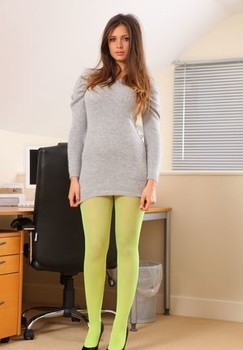Long haired secretary Louisa Marie models nylons and lingerie in her office