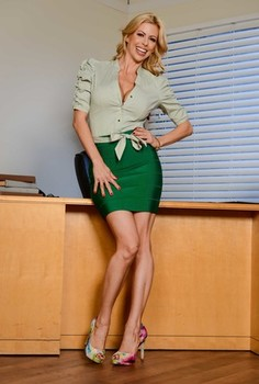 Leggy blonde woman Alexis Fawx strips naked on top of her office desk