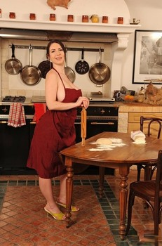 Busty European Karina Heart plays with her pussy & plump tits in the kitchen