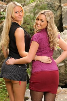 Stunning dolls Jodie Gasson & Naomi showing tits & asses in stockings outdoors