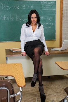 Sexy teacher Audrey Bitoni unveils her big breasts and masturbates at school