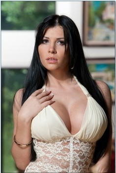 Busty Latina Rebeca Linares gets her twat filled with fat dick on a couch