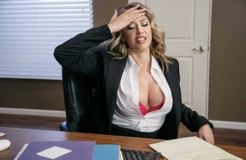 Big titted pornstar Kagney Linn Karter seduces a guy and gets fucked at work