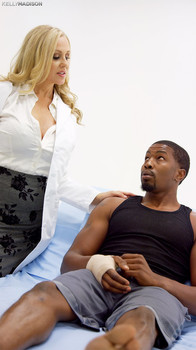 Big boobed cougar Julia Ann seduces a younger black man with a big dick