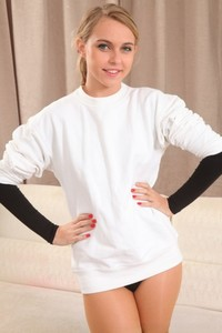 Sweet teen Chloe Toy doffs her tight bodysuit and poses in sheer nylons