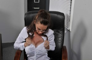 Busty mature teacher McKenzie Lee has intense office sex with a cute stud