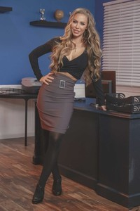 Secretary Nicole Aniston shows her nice tits & ass in pantyhose in the office