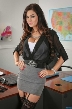 American office hottie Kendall Karson strips to her purple and black lingerie