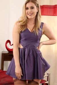 Beauty Jenny James strips off short purple dress & shows her hot saggy tits